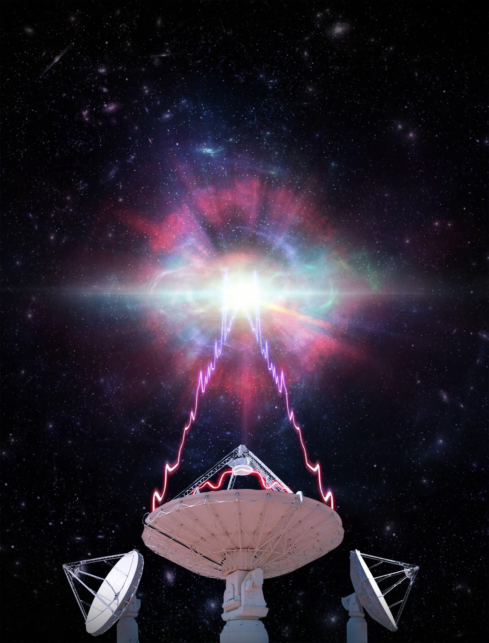 Impresión artística que muestra una de las antenas de radio telescopios ASKAP de CSIRO observando una ráfaga de radio rápida (FRB).
