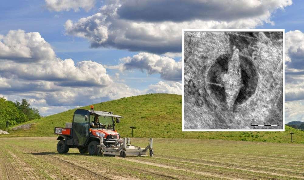 El escáner de radar motorizado de NIKU atraviesa el túmulo funerario.