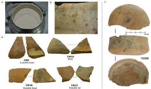 epósitos calcificados de vasijas modernas y antiguas en Çatalhöyük.