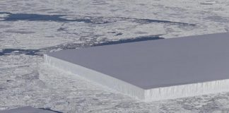Iceberg rectangular es captado por la NASA
