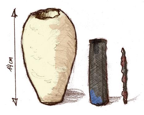 Dibujo que muestra los tres elementos de la Batería de Bagdad.