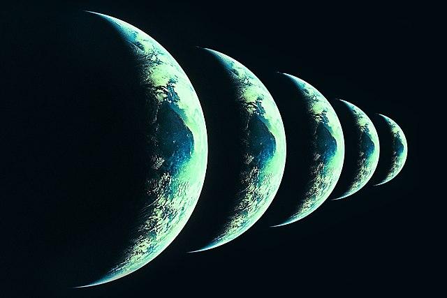 Representación artística de distintas «Tierras» en universos paralelos.