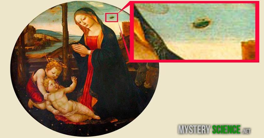 ovni en una pintura antigua