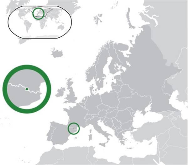 Situación de Andorra (en el centro de un círculo verde) en un mapa de Europa