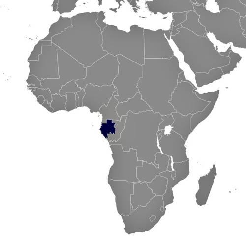 Situación geográfica de Gabón en el continente africano.