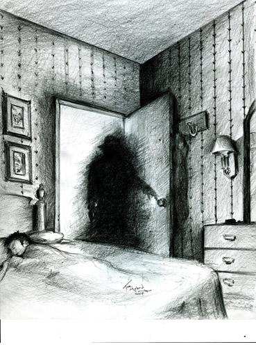 Impresión de un artista de una persona sombra como entidad paranormal.
