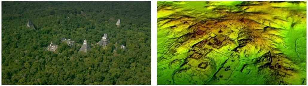 Representación artística del posible aspecto de una antigua ciudad maya en el pasado (artista desconocido). - La tecnología láser conocida como LiDAR quita digitalmente el dosel del bosque para revelar ruinas antiguas, mostrando que las ciudades mayas eran mucho más grandes que lo sugerido por la investigación en tierra.