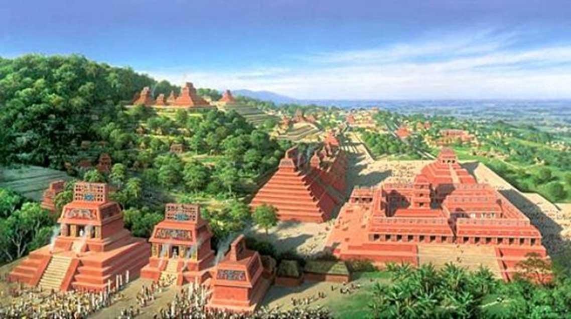 Representación artística del posible aspecto de una antigua ciudad maya en el pasado (artista desconocido).