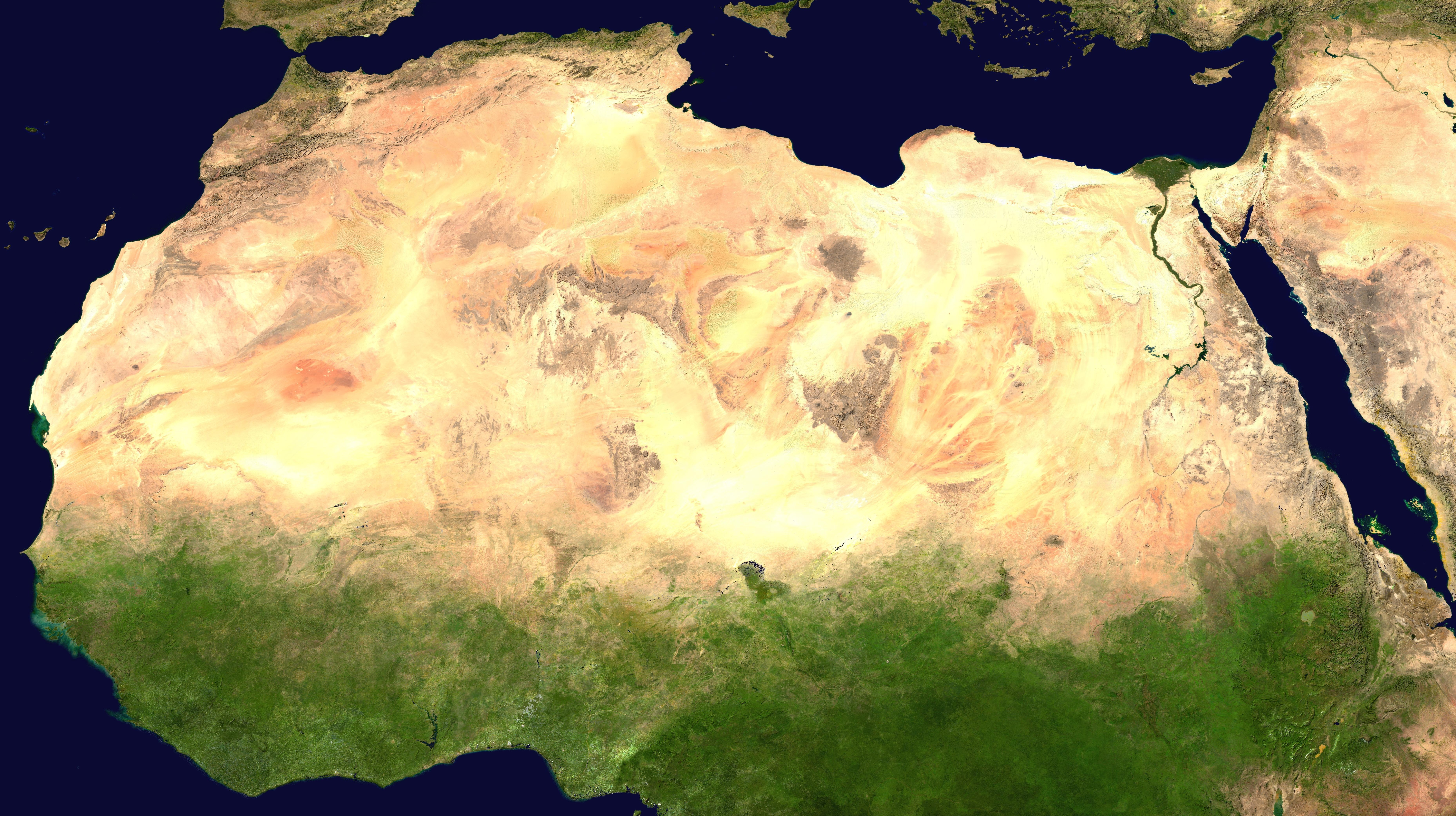 Vista satelital del desierto del Sahara.