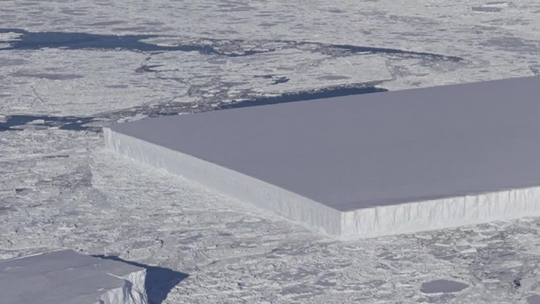 Iceberg rectangular es captado por la NASA