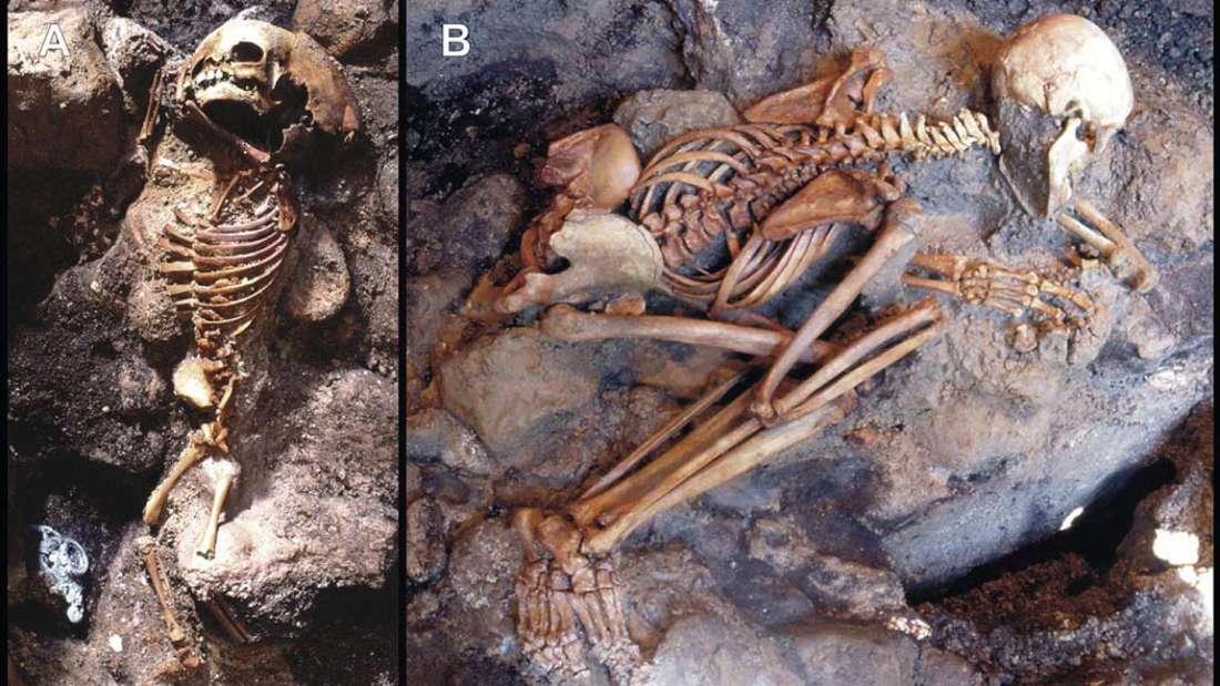 Esqueletos encontrados en las cámaras frente al mar en Herculano.
