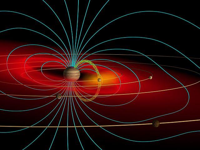 Ejemplo del campo magnético masivo de Júpiter.