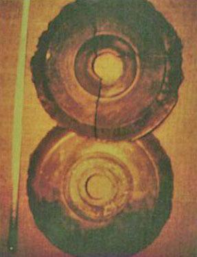 Fotografía instantánea de Ernst Wegerer en un museo de China. Los discos concuerdan con la historia de los Discos Dropa.