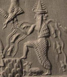 Grabado de Enki en el Sello de Adda. Se muestra con figuras de peces y corrientes de agua rodeándolo.
