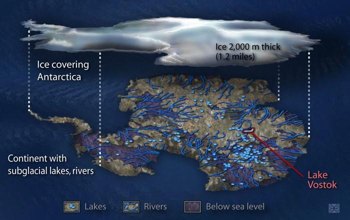 Una vista de lo que posiblemente exista debajo del hielo de la Antártida. Muchos lagos y ríos subterráneos existen bajo la gruesa capa de hielo