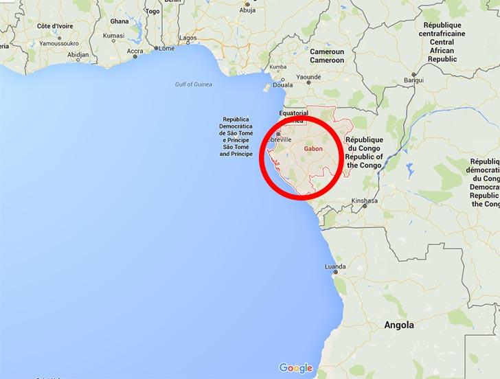 Gabón en el continente africano