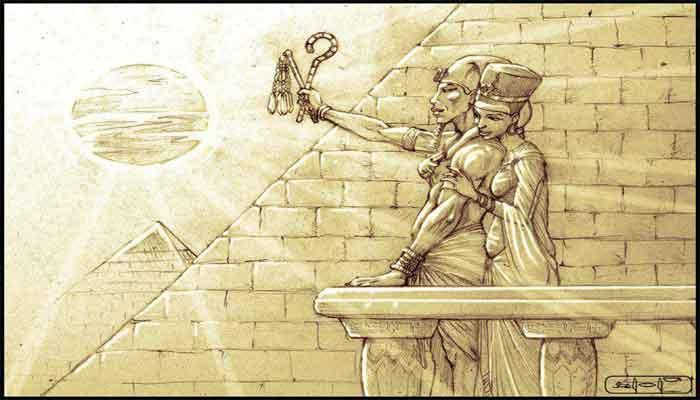 Akhenatón y Nefertiti adorando a Atón.