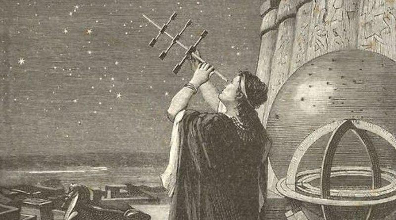 Hipatia con un instrumento astronómico