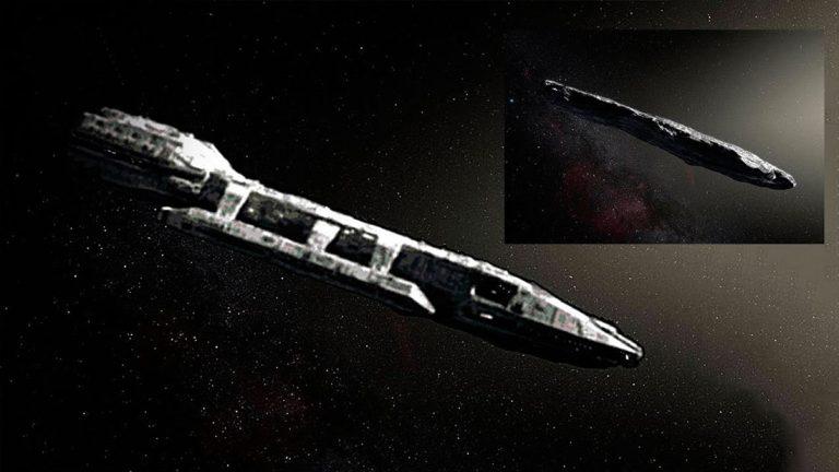 Representación de una sonda extraterrestre con la forma Oumuamua