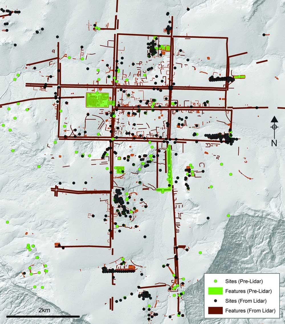 Mapa que muestra los ejes principales recién descubiertos de Mahendraparvata