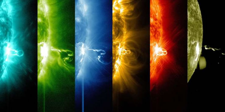 llamarada solar en diferentes longitudes de onda de luz