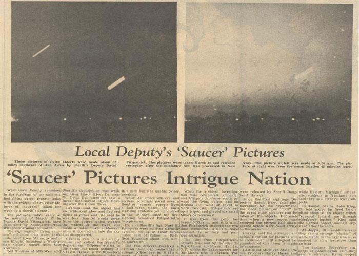 Artículo de las noticias de Ann Arbor describía el avistamiento inicial de OVNIs