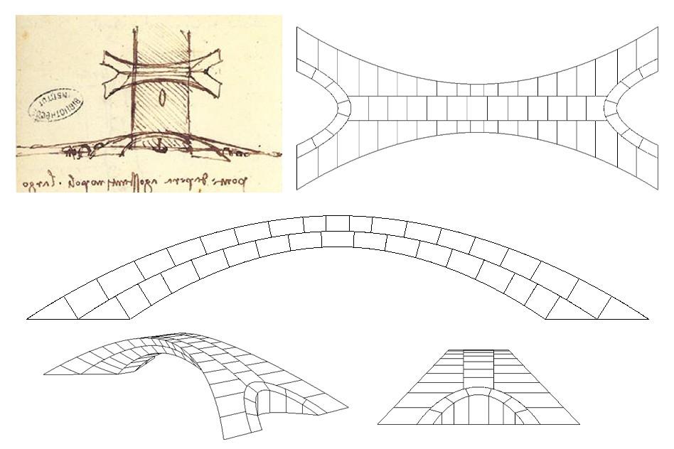 Esbozo original de Leonardo da Vinci y planos del MIT