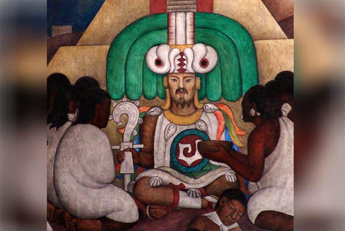 Quetzalcóatl, representado en el mural de Diego Rivera en el Palacio Nacional de México