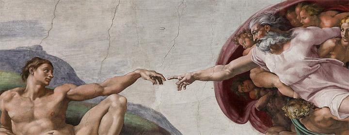 Detalle de la Creación de Adán, de Miguel Ángel