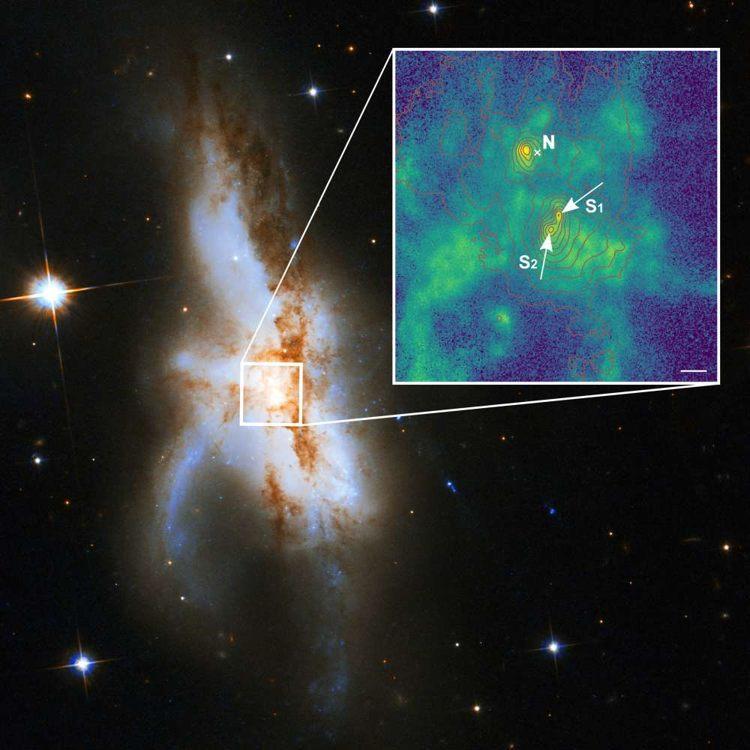 Identificación de tres agujeros negros en la galaxia NGC 6240