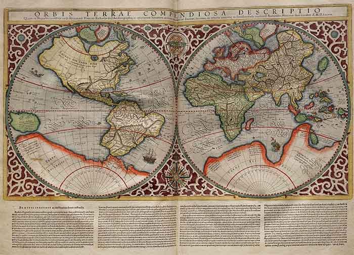Mapamundi que muestra la Terra Australis