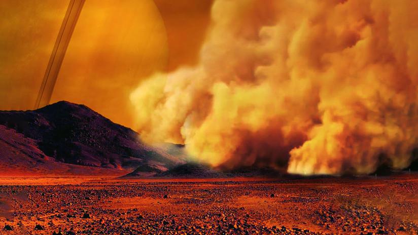 Visión artística de una tormenta de polvo en Titán