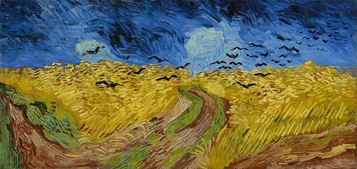 Van Gogh Pintura Trigal con cuervos