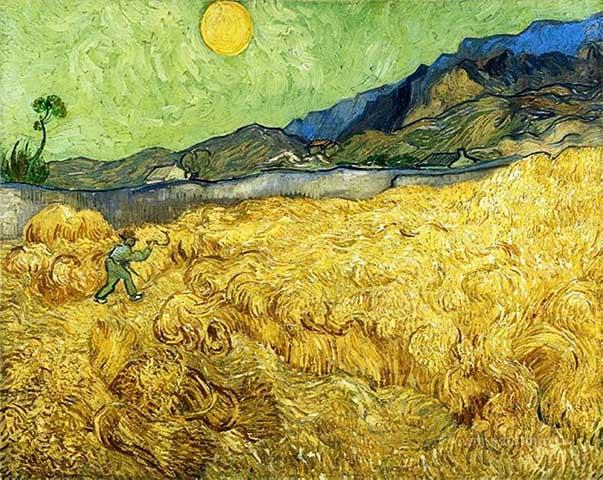 Van Gogh Pintura Campos de trigo con el segador