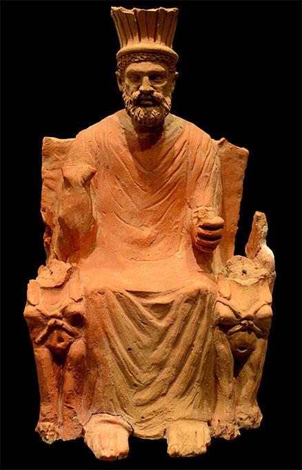 Baal Hammon en su trono entre dos esfinges