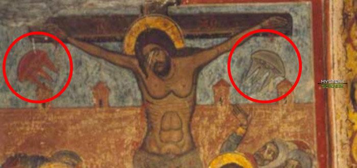 Ovnis en la pintura Crucifixión del siglo XI