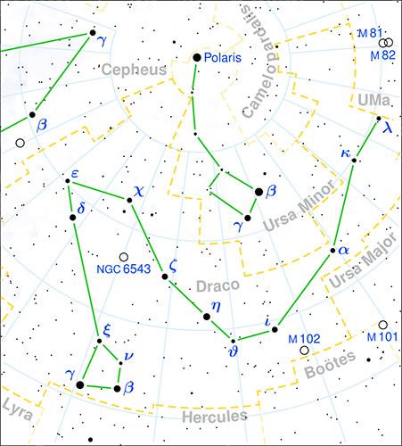 Mapa de la constelación Draco