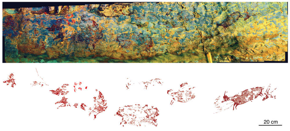 Arte rupestre escena de caza