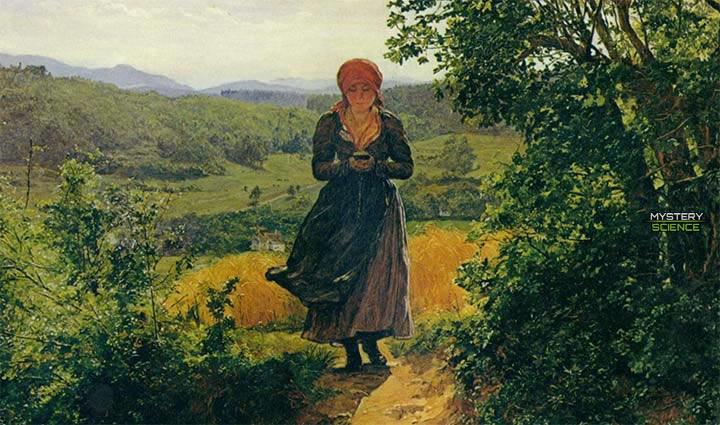 Mujer del siglo XIX con un supuesto iPhone