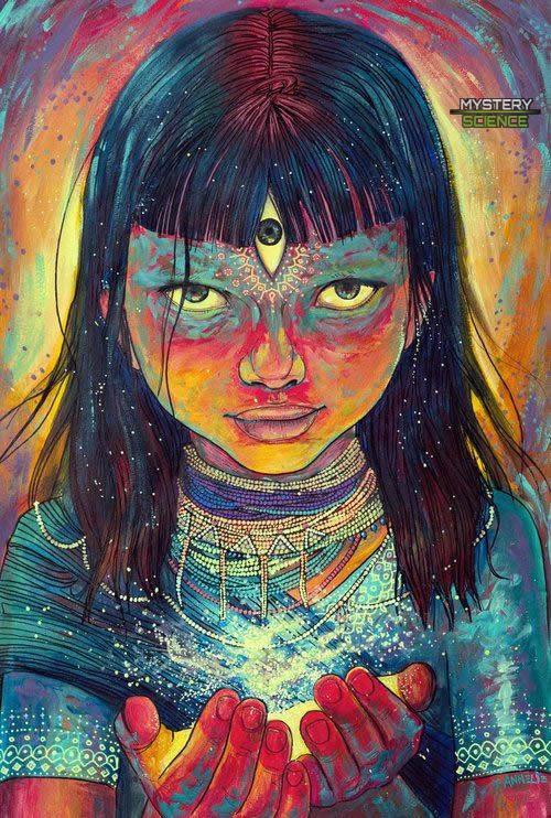 Representación de un niño índigo con el Tercer ojo activado