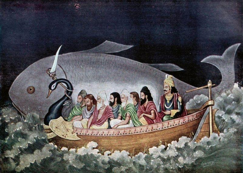 Matsya protecting Manu