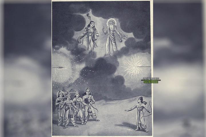 Arjuna y Ashwatthama disparan sus Brahmastras, mientras que Vyasa y Narada llegan a detener la colisión