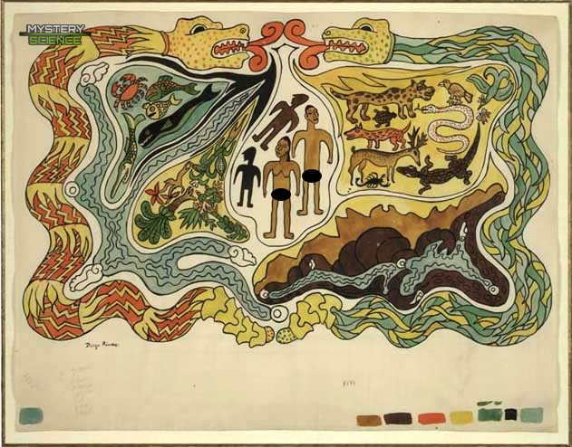 Ilustración del mito de la creación de los mayas