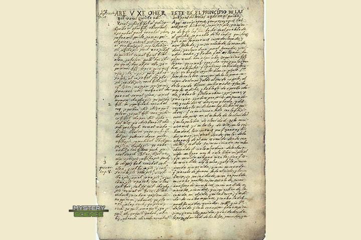 Primera página del manuscrito del Popol Vuh