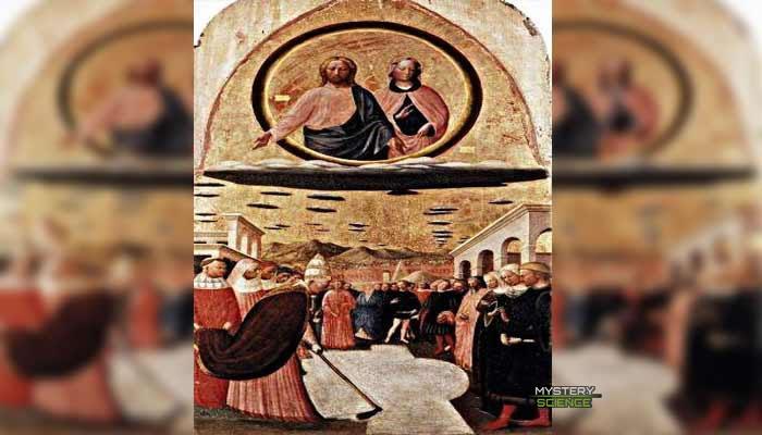 Jesús y María están sobre lo que parece ser una nave