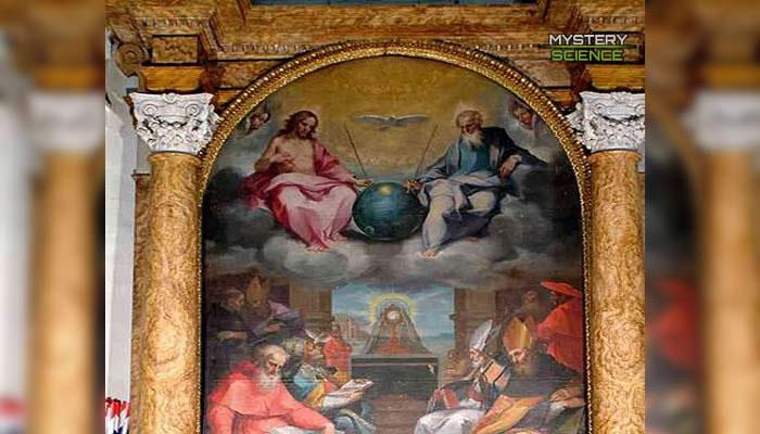 Dios y Jesús tomando un objeto metálico por sus antenas