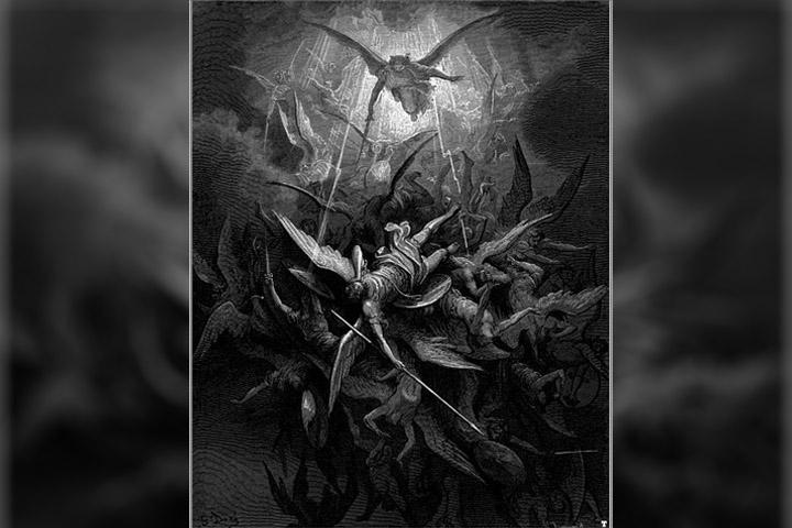 Arcángel Miguel arroja a los ángeles rebeldes