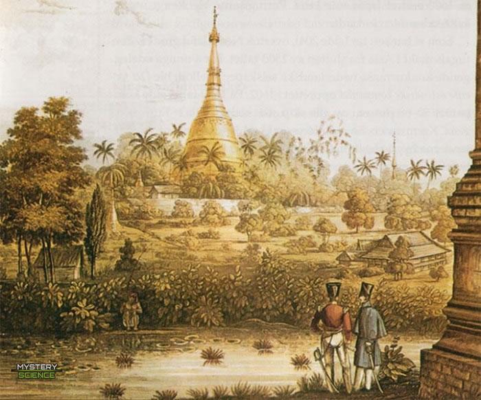 Vista de la estupa de Shwedagon Paya