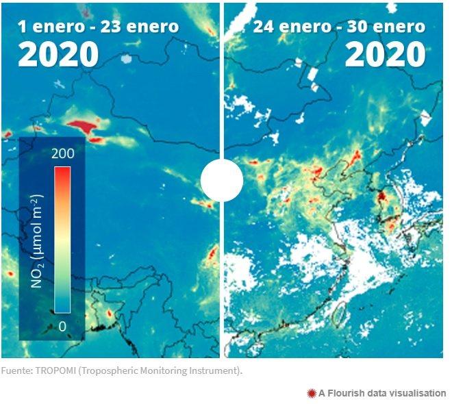 Incremento de los niveles de contaminación atmosférica en Wuhan, China
