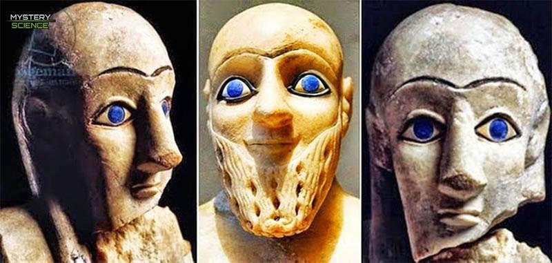 Estatuas de sumerios ojos azules